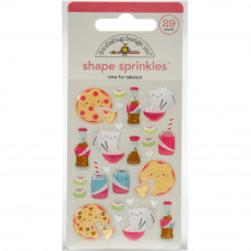 Doodlebug Sprinkles Adhesive Glossy Enamel Shapes, Time for Takeout