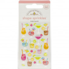 Doodlebug Sprinkles Adhesive Glossy Enamel Shapes, Tropical Punch