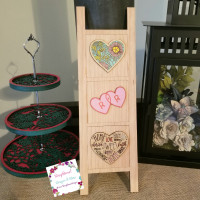 "Farmhouse Ladder-""Hearts""-Interchangeable tiles, no base included"